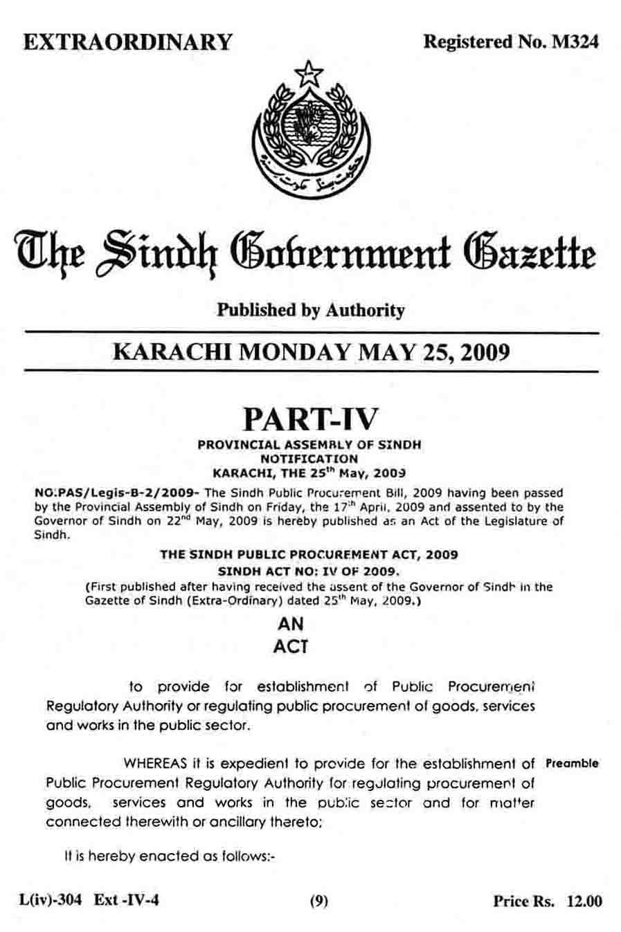 GAZETTE Page No.2, SPPRA SINDH PUBLIC PROCUREMENT REGULATORY AUTHRITY