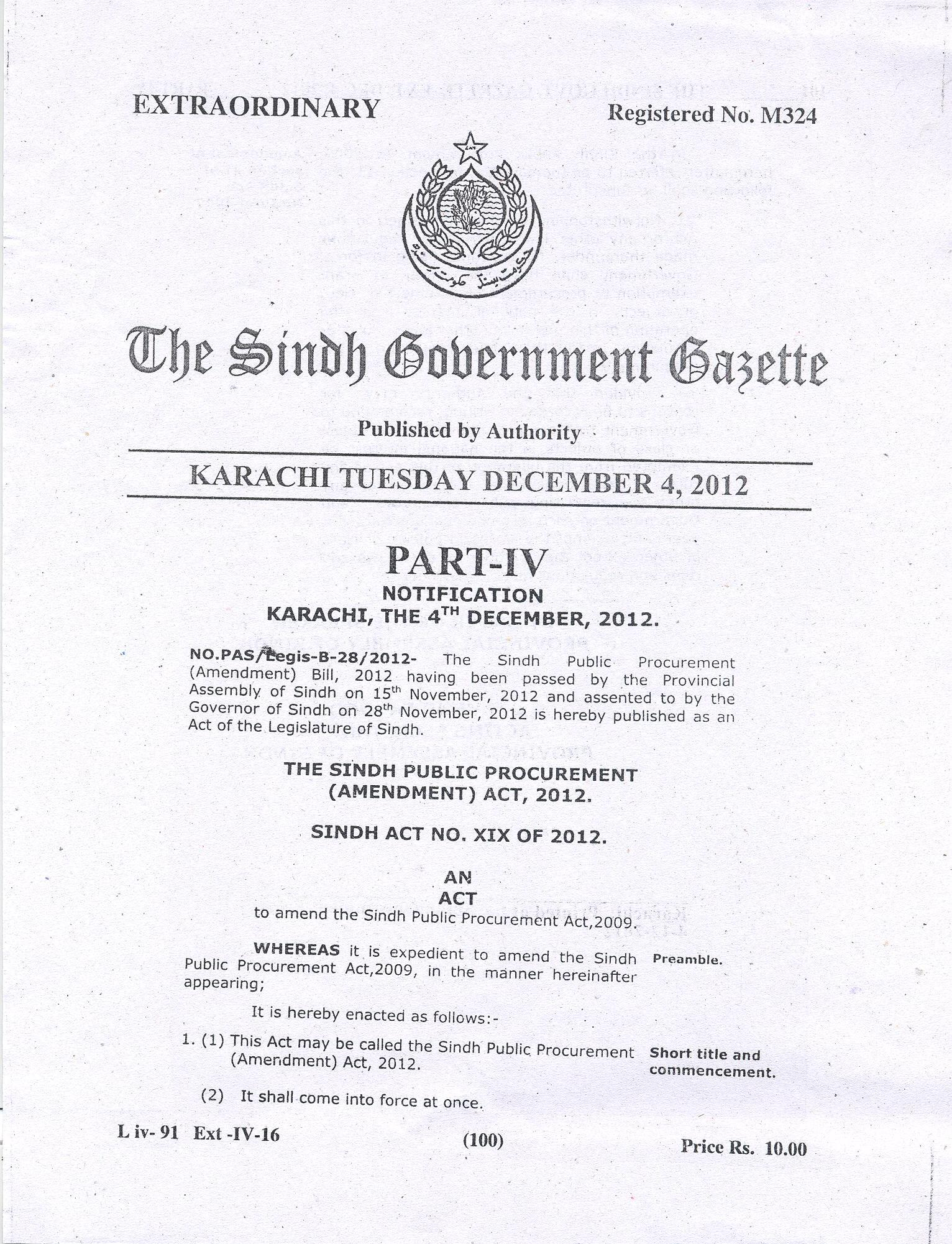 GAZETTE Page No.1, SPPRA SINDH PUBLIC PROCUREMENT REGULATORY AUTHRITY